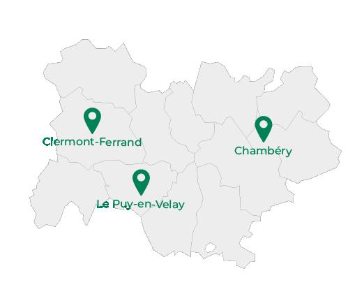 carte Auvergne rhône Alpes